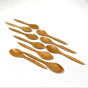 Other - Set of 10 Wooden Dessert Spoons Made in Thailand